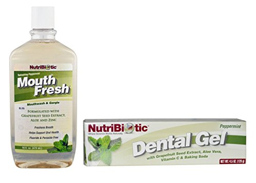 NutriBiotic MouthFresh Refreshing Peppermint Mouthwash and Peppermint Dental Gel Bundle with Grapefruit Seed Extract, Peppermint Oil, Vitamin E Acetate and Lemon Oil, 16 fl. oz. and 4.5 oz. each