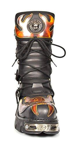 Rot Leder Stiefel Design Gothic New Schnürsenkel Biker Herren Stil Flamme Schwarz Schuhe Rock 8qXUqz
