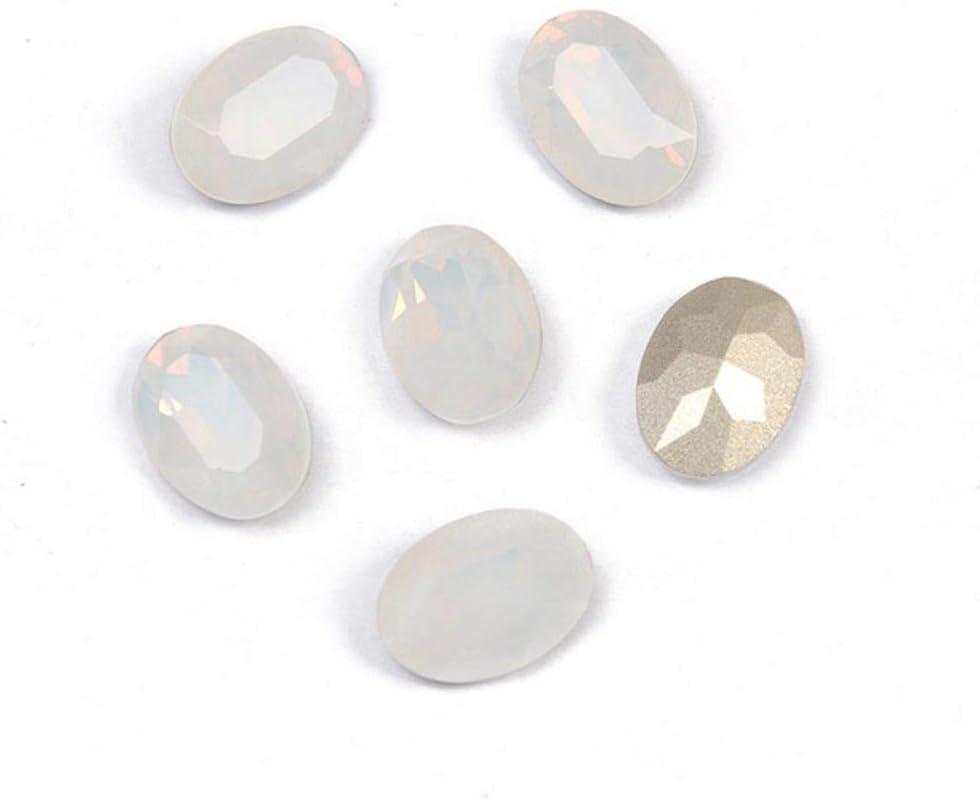 PENVEAT 4120 Diamantes de imitación de Cristal Ovalado Coser Strass Pointback Claw Glass Coser en Piedras para Ropa de joyería, ópalo Blanco, con Garra Dorada