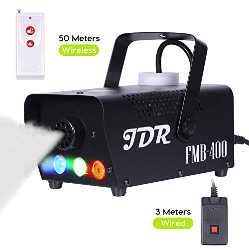 (JDR Fog Machine with Controllable lights, DJ LED Smoke Machine(Red,Green,Blue) with Wireless and Wired Remote Control for Holidays Parties Weddings Christmas Halloween,with Fuse)