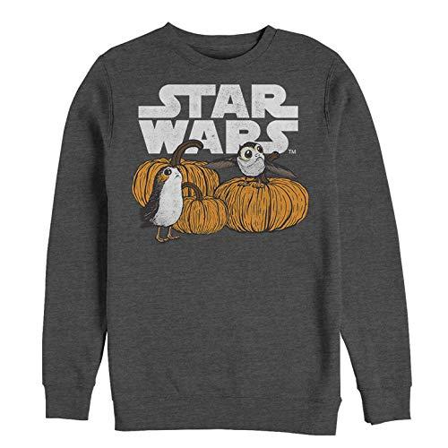 Star Wars Men's Licensed Halloween Pumpkin Patch PORG Crew Fleece, Charcoal Heather, Small ()
