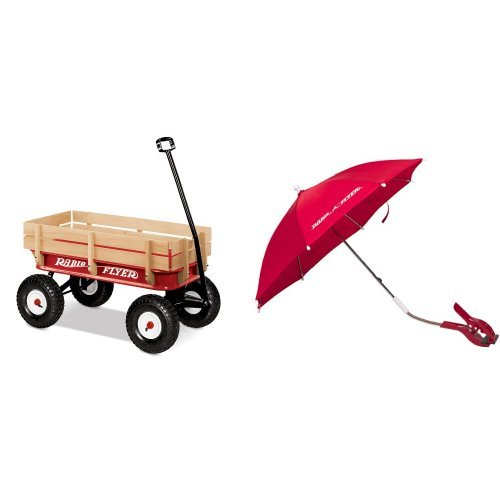 Radio Flyer Full Size All-Terrain Steel and Wood Wagon with Wagon Umbrella Bundle