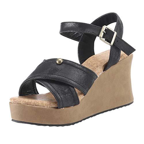 (LOVOZO Women Summer Fashion Sandals Buckle Strap Wedges Retro Open Toe Ankle Braid Strap Sandals Black)