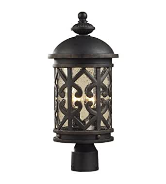 Outdoor Post 2 Light With Weathered Charcoal Finish Clear Seeded Glass Candelabra 20 inch 120 Watts - World of Lamp