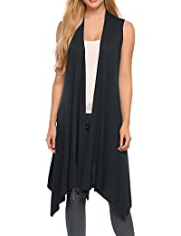 Women's Sleeveless Solid Color Asymetric Hem Open Front Cardigan Top