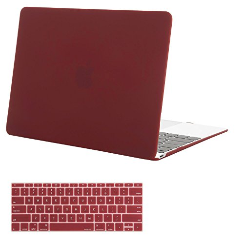 MOSISO Plastic Hard Shell Case & Keyboard Cover Compatible MacBook 12 Inch Retina Display Model A1534 (Newest Version 2017/2016/2015), Wine Red