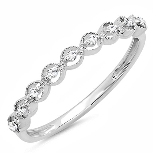 (Dazzlingrock Collection 0.10 Carat (ctw) Sterling Silver Round White Diamond Ladies Wedding Band 1/10 CT (Size)