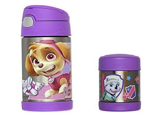 PAW Patrol Thermos FUNtainer 10oz Food Jar and Insulated 12oz Straw Bottle Set Boy or Girl (Purple-Girl)
