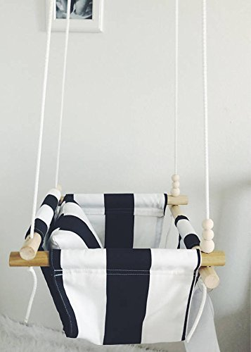 Indoor/Outdoor Black and White Striped Fabric Baby Swing