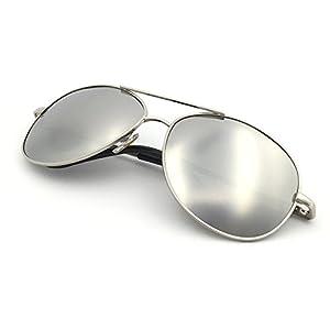 J+S Premium Military Style Classic Aviator Sunglasses, Polarized, 100% UV protection (Silver frame Silver Mirror Lens - Medium)