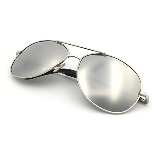 J+S Premium Military Style Classic Aviator Sunglasses, Polarized, 100% UV protection (Silver frame Silver Mirror Lens - - Aviator Sunglasses Mirror