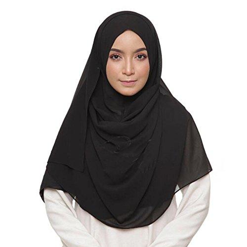 LMVERNA Chiffon muslim scarf plain Thick Chiffon Muslim Hijab Long Scarf wrap scarves (Black)
