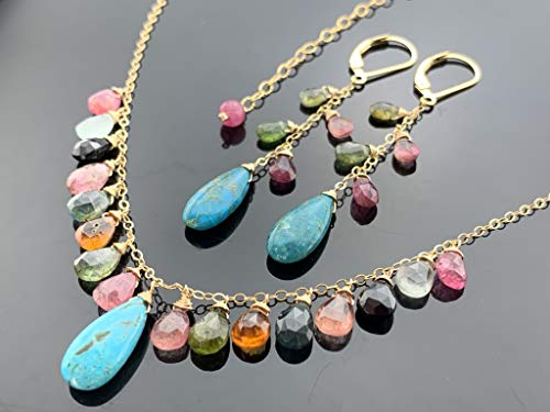 Sleeping Beauty Turquoise and Watermelon Tourmaline 14k Gold Filled Gemstone Necklace and Leverback Earrings Set
