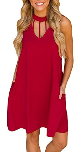 ETCYY Women's Sleeveless Casual T-Shirt Dress for Summer with Pockets