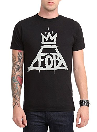 Galoov Men's Black Fall Out Boy Crown Logo T-Shirt ()
