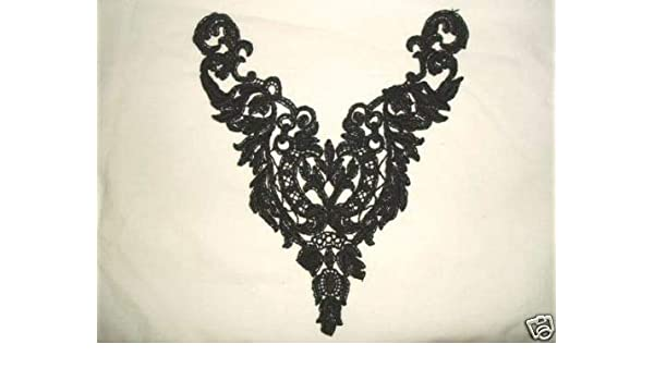 "F25 ~ BLACK VENICE LACE VICTORIAN YOKE APPLIQUE 10/"" Sewing Crafts Motifs @ Glory"