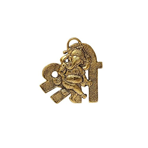 HANDICRAFTS PARADISE Hanging in Metal with Ganesha Playing Dholak Placed On Shree Shaped Base