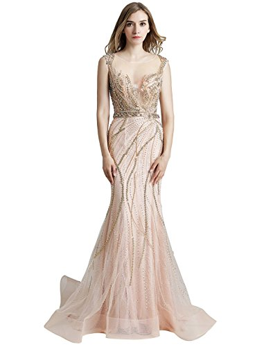Sarahbridal Women's Sheer Back Prom Dress Long Tulle Beaded Crystal Sequin Evening Ball Gowns Champagne US6 (Beaded Sheer Prom Dress)