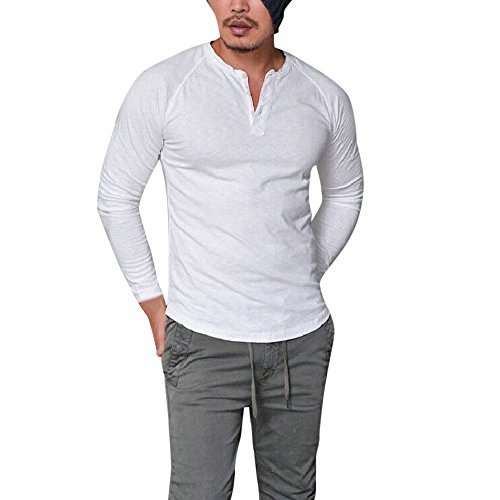 YKARITIANNA Men Top, Fashion Men's Slim Fit V Neck Long Sleeve Muscle Tee T-Shirt Casual Tops Blouse