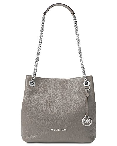 MICHAEL Michael Kors Jet Set Chain Medium Leather Shoulder Tote, Pearl Grey by Michael Kors