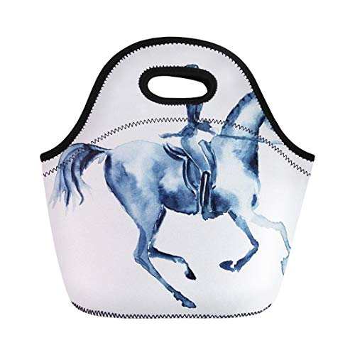 (Semtomn Neoprene Lunch Tote Bag Watercolor Rider and Dressage Galloping Horse on White England Reusable Cooler Bags Insulated Thermal Picnic Handbag for Travel,School,Outdoors,Work)