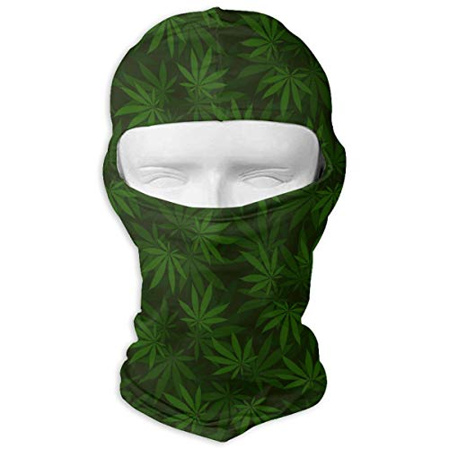 UV Protection Face Mask for Cycling Outdoor Sports Full Face Masks Dark Green Cannabis Balaclava Hood Skullies -