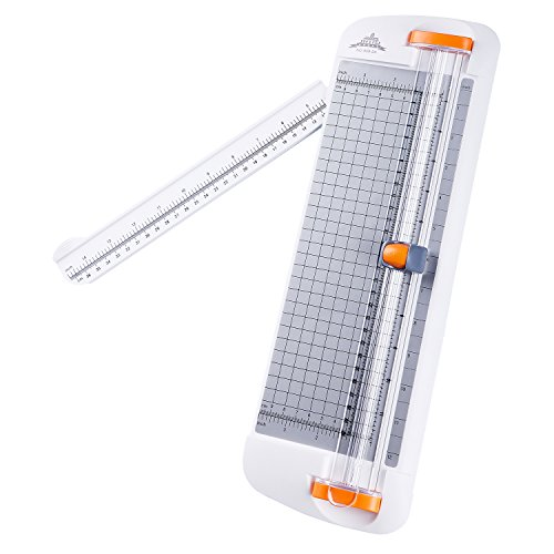 Work4U 12 inch Paper Cutter, A4 Scrapbooking Paper Cutter with Swing-Out Arm, Guillotine for Coupon, Craft Paper, Label and Photo, White (909-2A)