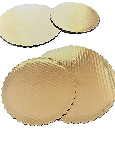 Gold Scallop Cake Circle Round – 8, 9 and 10 inch Board Corrugated Paper Cardboard Cake Base; add an extra touch of elegance (Pack of 15-5 of each) Made in ()