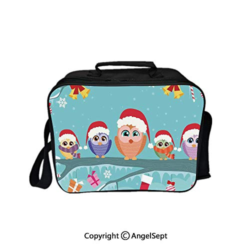 Lunch Box Carry Case Handbags,Cute Owl Family Sitting on Branch Like Little Elves of Noel Animal Design Multi 8.3inch,With Zipper For Adults Kids Teachers Workers