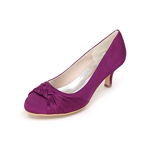 L@YC Mujeres de tacón alto Cómoda boda de verano de seda de otoño / Evening Wedding Wedding Shoes Purple