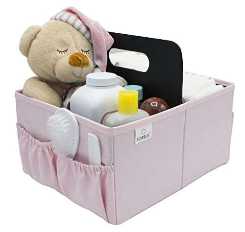 Sorbus Baby Diaper Caddy Organizer - Nursery Essentials Storage Bin for Diapers, Wipes & Toys, Newborn & Infant Portable Car Travel Storage Bag, Changing Table Organizer, Great Baby Shower Gift (Pink)