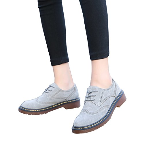 CAMSSOO Women's Classic Low Heel Flat Lace Up Oxford Brogues Wingtip Shoes 10Grey 23RHl