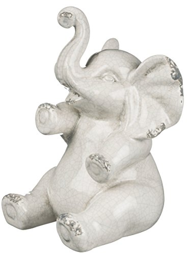 Sullivans Ceramic Elephant Figurine, 5 x 8 Inches, White (CM2715) ()