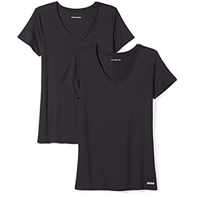 Essentials Women's 2-Pack Tech Stretch Short-Sleeve V-Neck T-Shirt: Clothing