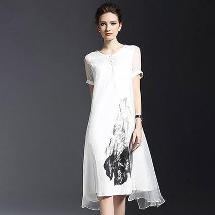 GAOLIM Stempel Seidenkleider Sommer Großen Code Lose Fake Zwei Stücke von Leinen Kleid in Weiß Verlassen Zwei, S,