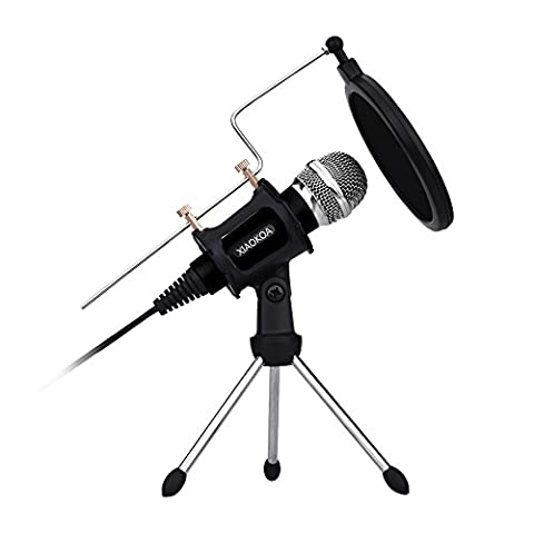 Professional Condenser Microphone, Plug &Play Home Studio microphones for Iphone Android Recording,PC,Computer,Podcasting,Mini Desktop MIC Stand dual-layer acoustic filter (Black) by XIAOKOA