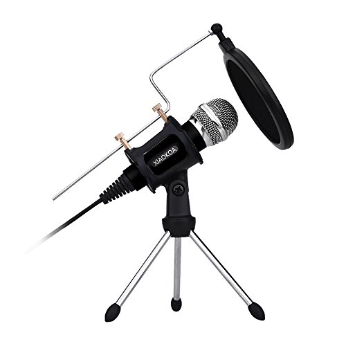 Professional Condenser Microphone, Plug &Play Home Studio microphones for Iphone Android Recording, PC, Computer, Podcasting, Mini Desktop MIC Stand dual-layer acoustic filter (Black) by XIAOKOA