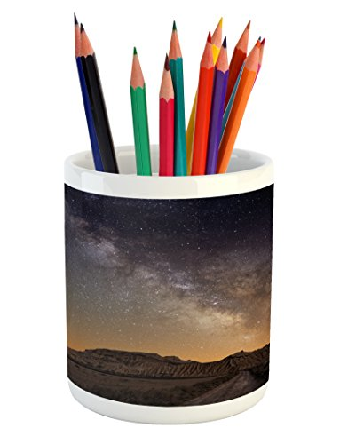 Ambesonne Night Pencil Pen Holder, Milky Way over Desert of Bardenas Spain Ethereal View Hills Arid Country, Printed Ceramic Pencil Pen Holder for Desk Office Accessory, Plum Apricot Chocolate by Ambesonne