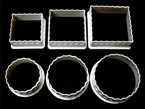 1 X 6 Plastic Fluted Cookie Cutters Square Round Assorted Biscuit by Al-De-Chef