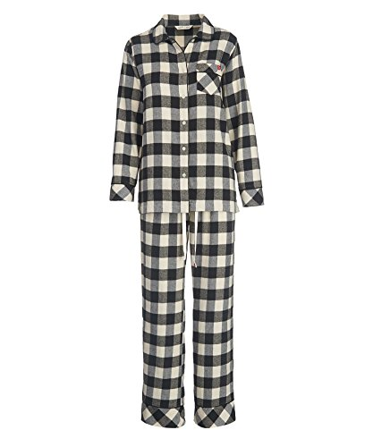 Woolrich Women's First Light Flannel Pajama Set, Ivory Check, M