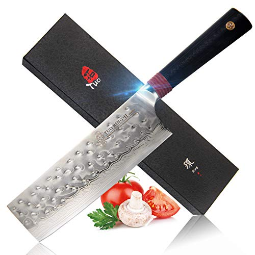 TUO Cutlery Nakiri Knife - Damascus Nakiri Vegetable Cleaver Kitchen Knives - Japanese AUS-10 HC Stainless Steel Cutting Core Blade - Hammered Finish- G10 Handle - Gift Box - 6.5