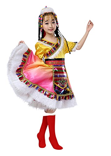 CRB Fashion Girls Kids Ladies Mongolia Asian Princess Outfit Costume with Headpiece (Height 120cm, (Mongolian Costume)