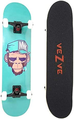 veZve Skateboard Pro Complete 31 inch Skateboard Maple Wood Double Kick Tricks for Teens Adults Beginners 220lb
