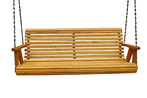 Ecommersify Inc ROLL Back Amish Heavy Duty 800 Lb 5ft. Porch Swing – Cedar Stain – Made in USA