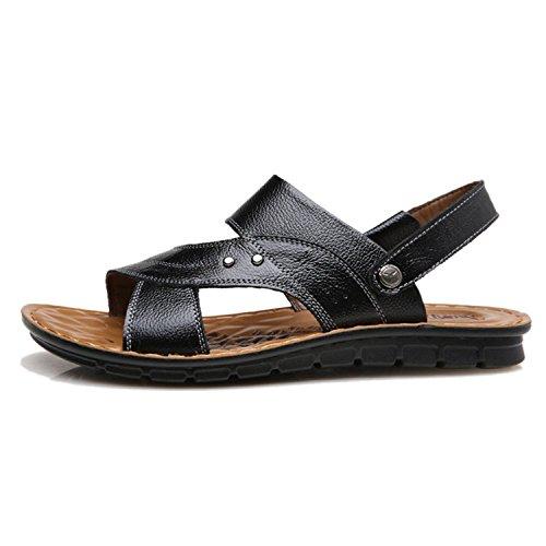 9a440d70a8d5 30%OFF Fordbox Comfortable Mens Skidproof Sandels Summer Leather Sandals  Black 10 D(M