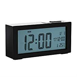Jcobay Alarm Clocks Bedside Non Ticking, Battery Operated Digital Clock Large Display Time Temperature Adjustable Backlight with Snooze Light Function for Home