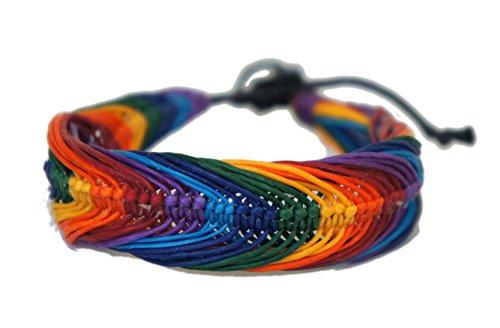 Cord Hemp Hippie (Rainbow Hippie Macrame Bracelet Wax Cord Hemp Handmade Gay Pride Fantasy Hawaiien Style)