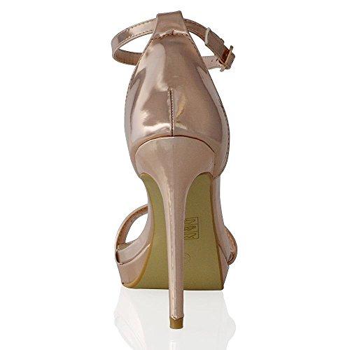 Essex Glam Womens Platform High Heel Peep Toe Ankle Strap Sandals Shoes Gold Metallic gOEcyN