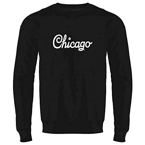 - Chicago Illinois Retro Vintage Travel Black L Mens Fleece Crew Sweatshirt