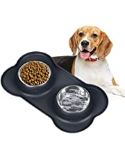 OYISIYI Dog Bowls Stainless Steel Dog Bowl with Non Spill Skid Resistant Silicone Mat Feeder Bowls for Dogs Cats and Pets